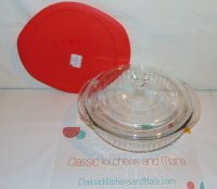 Newer Style Pyrex Glass Casserole 024 - 2 qt w/ 2 Lids Covers