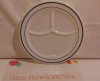 Corning Divided Diner Restaurant Cafe Green Stripe 9 Inch Plate