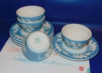Vintage Syracuse China USA BLUE OAK LEAF Soup Bowl/Saucer Set 8p