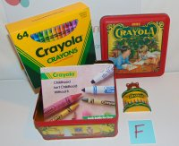 Crayola Crayons 1992 Holiday Tin 64 Count Crayons/ Bear Ornament
