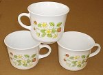 Corning Corelle Strawberry Sunday Cups Mugs 3 pcs RARE NM