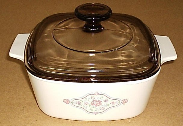 Corning Ware English Breakfast Beige 1.5 Casserole w/Amber Lid - Click Image to Close