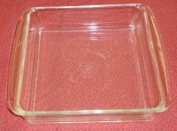 "Pyrex 8"" Clear Glass WIDE Handled Square Baking Dish Vintage"