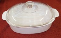 Corning Ware French White F-14-B Oval Casserole Roaster w/LID NM
