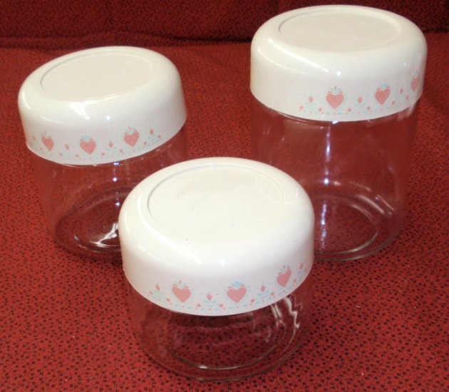 Vintage Corelle Gemco Forever Yours Glass Canisters w/Lids Set 3 - Click Image to Close