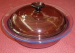Corning Vision Amber 1.5 L Covered Round Casserole w/ Lid NM