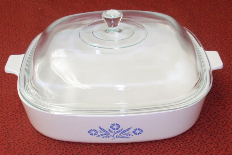 Corning Ware Cookmates Cornflower Casserole Skillet w/ Lid SK10 - Click Image to Close