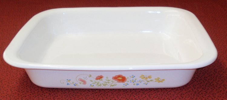 Corning Ware Wildflower Wide Edge A21 Open Roaster Lasagna Pan - Click Image to Close
