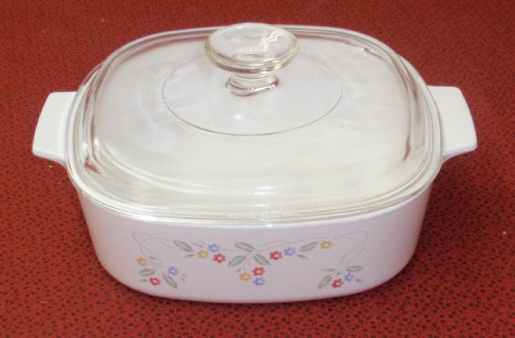 Corning Ware English Garden 2 Liter Casserole Skillet w/Lid XC - Click Image to Close
