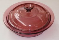 Corning Vision Cranberry 1 L Covered Round Casserole w/ Lid NM