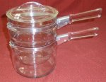 1940's Vintage Pyrex Flameware Double Boiler Saucepan Set 3pc NM
