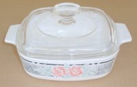 Corning Ware Silk & Roses 1 Liter Casserole w/ Pyrex Lid NM