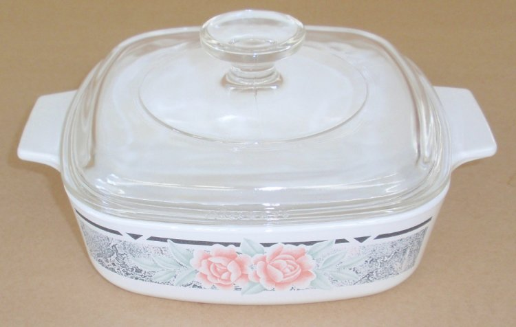 Corning Ware Silk & Roses 1 Liter Casserole w/ Pyrex Lid NM - Click Image to Close