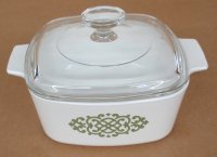 Corning Ware Green Medallion 1.5 Quart Casserole w/ Lid VG