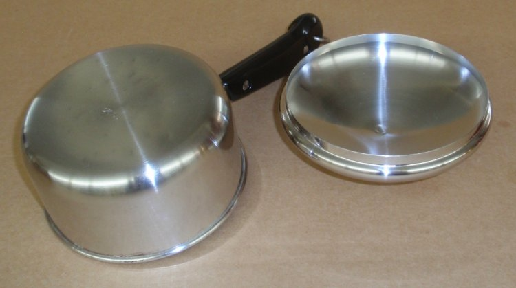 REFURBISHED Vintage Revere Ware Stainless 3/4 Saucepan w/ Lid - Click Image to Close
