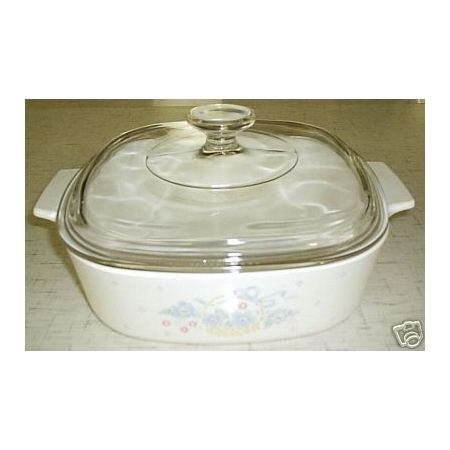 Corning Ware Country Cornflower 2 L Casserole Skillet w/ Lid NM - Click Image to Close